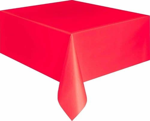 Red Christmas Halloween Table Cloth Rectangle Plastic 9 x 4.5 ft (2.74m x 1.37m)